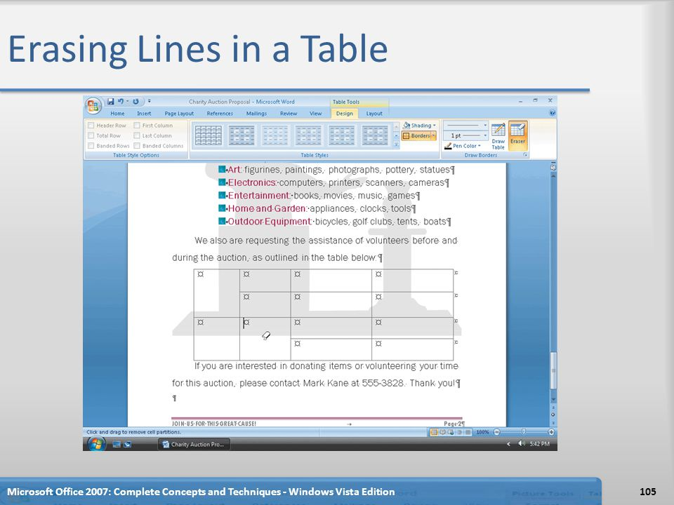 Erasing Lines in a Table