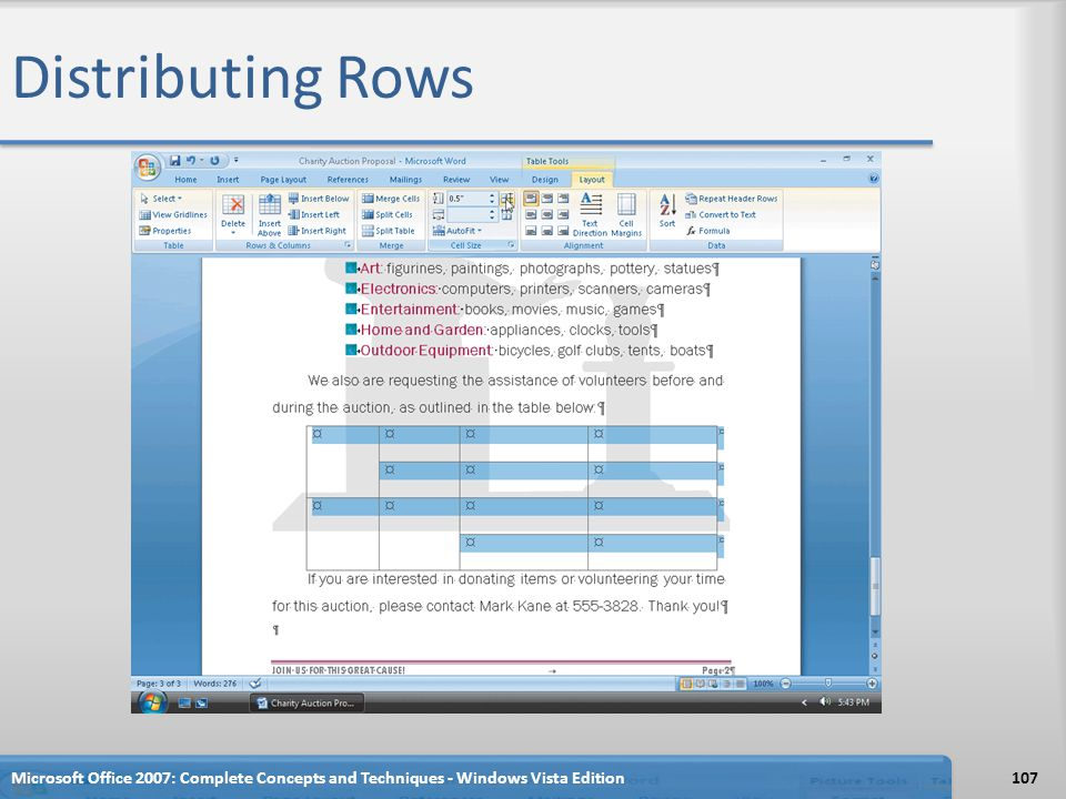 Distributing Rows Microsoft Office 2007: Complete Concepts and Techniques - Windows Vista Edition