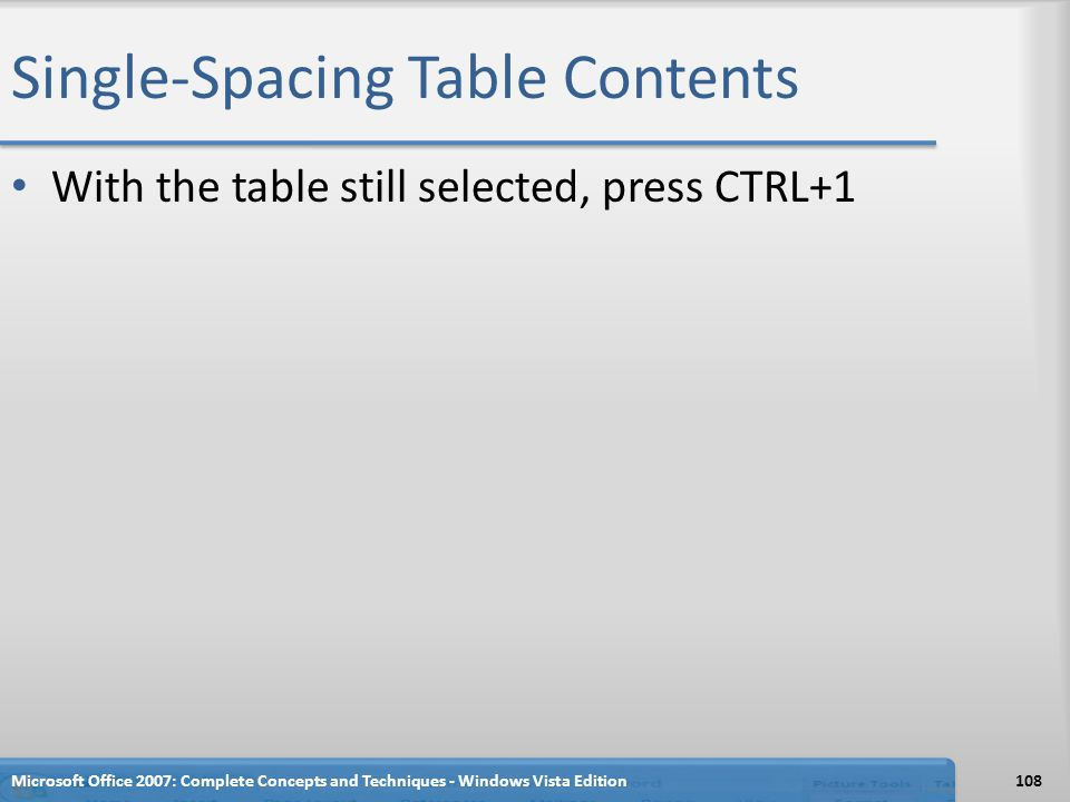 Single-Spacing Table Contents