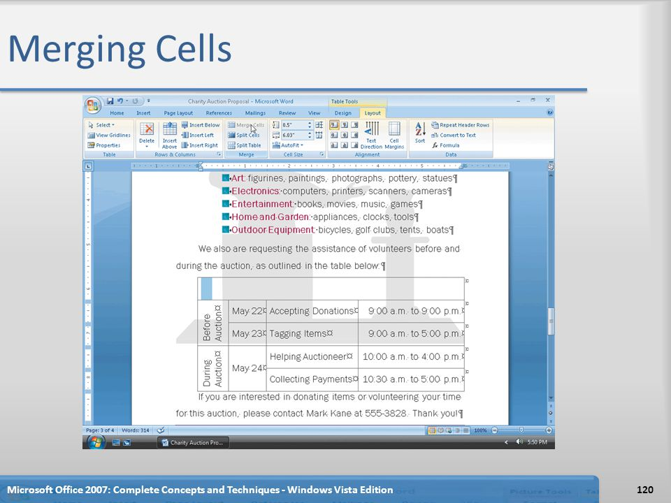 Merging Cells Microsoft Office 2007: Complete Concepts and Techniques - Windows Vista Edition