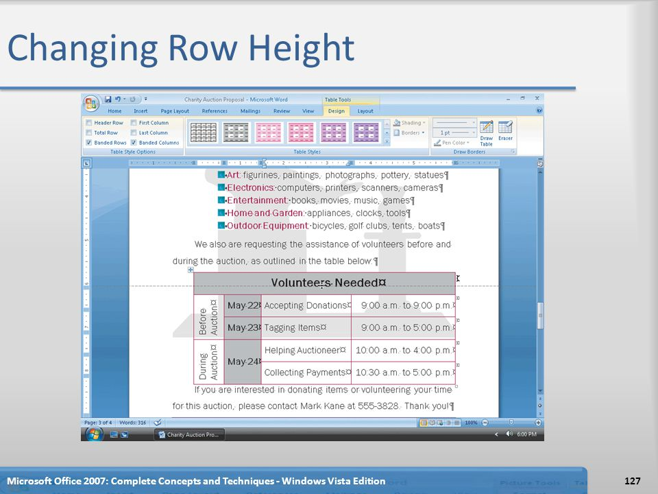 Changing Row Height Microsoft Office 2007: Complete Concepts and Techniques - Windows Vista Edition