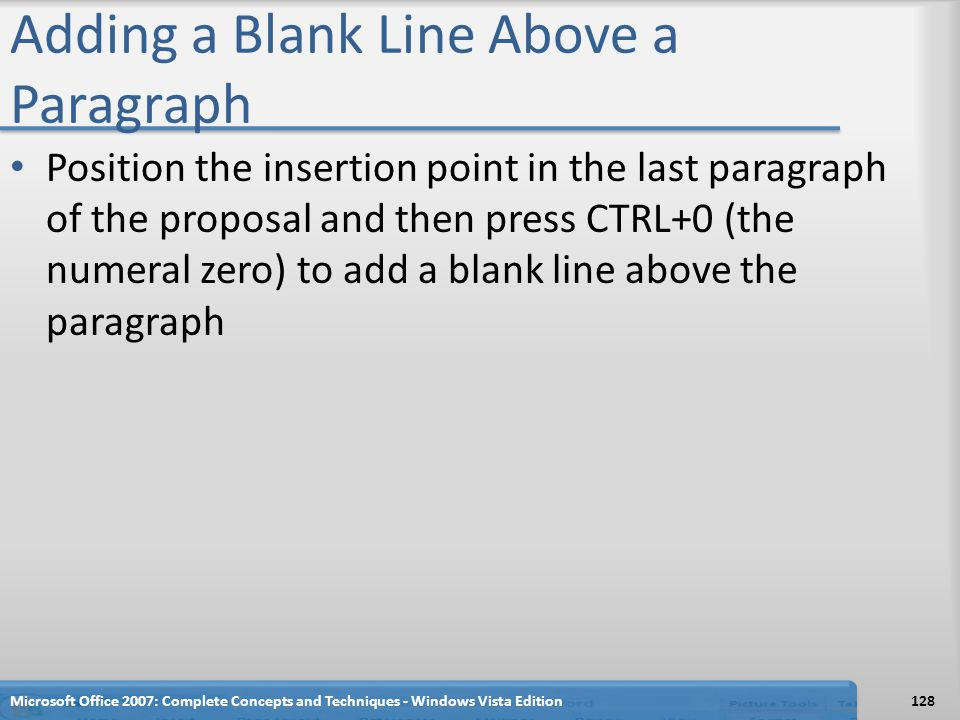 Adding a Blank Line Above a Paragraph