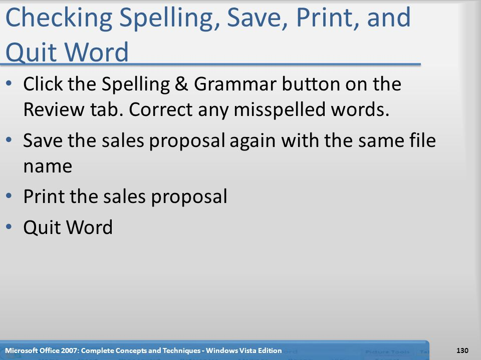 Checking Spelling, Save, Print, and Quit Word