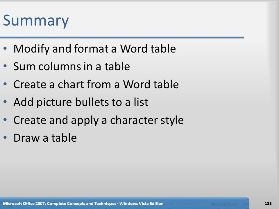 Summary Modify and format a Word table Sum columns in a table