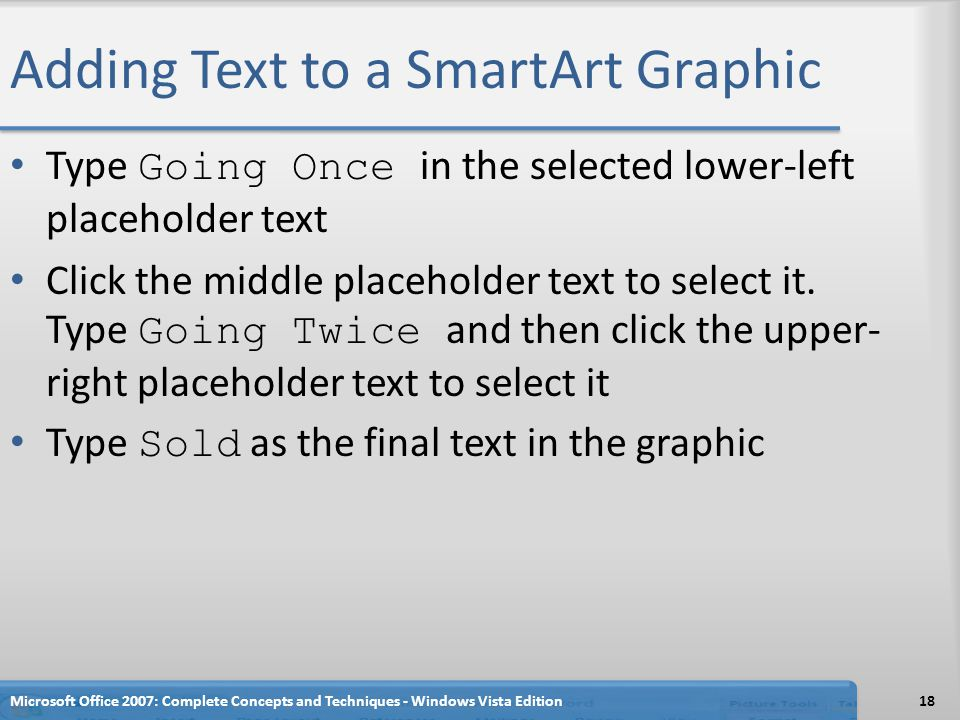 Adding Text to a SmartArt Graphic