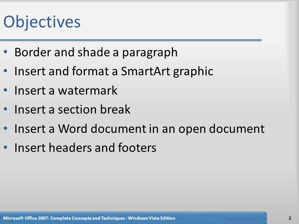 Objectives Border and shade a paragraph