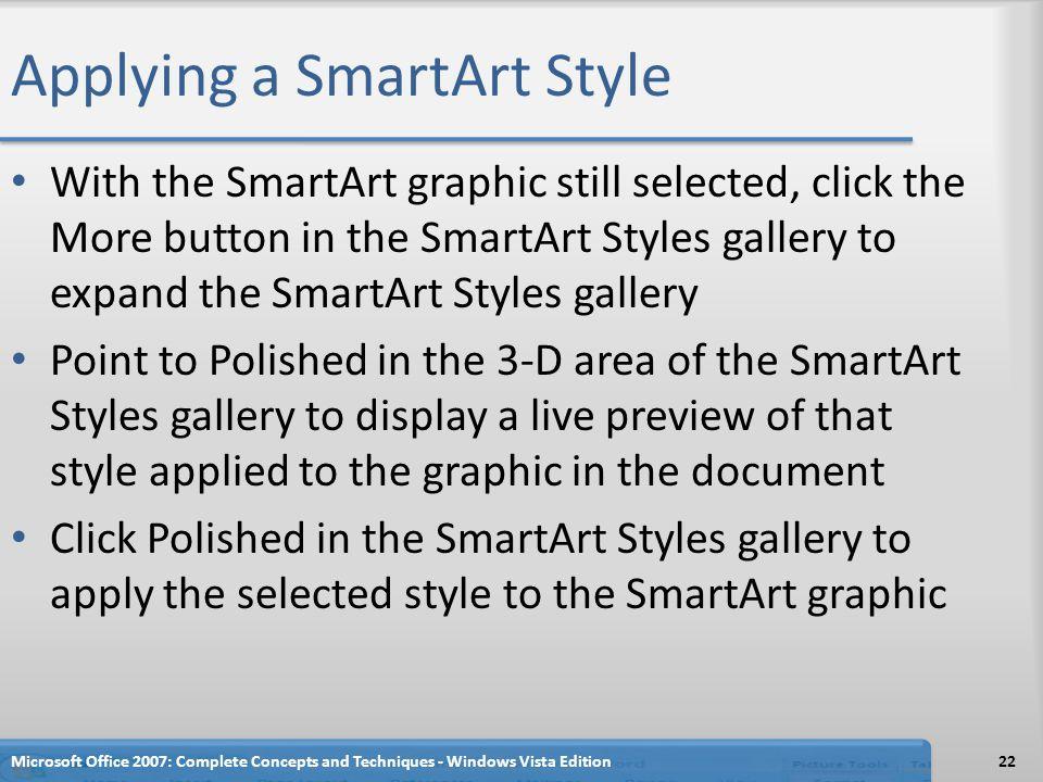 Applying a SmartArt Style