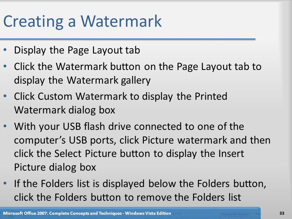 Creating a Watermark Display the Page Layout tab