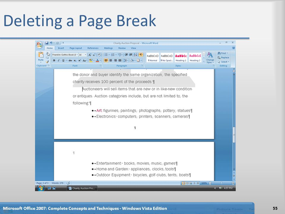 Deleting a Page Break Microsoft Office 2007: Complete Concepts and Techniques - Windows Vista Edition.