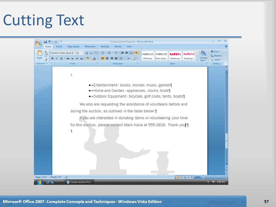Cutting Text Microsoft Office 2007: Complete Concepts and Techniques - Windows Vista Edition