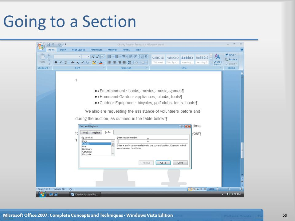 Going to a Section Microsoft Office 2007: Complete Concepts and Techniques - Windows Vista Edition