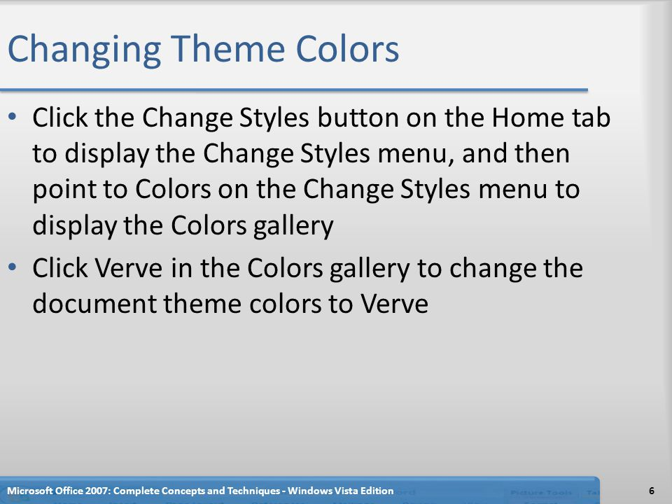 Changing Theme Colors