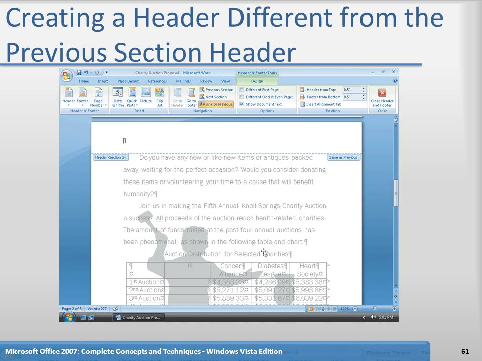 Creating a Header Different from the Previous Section Header