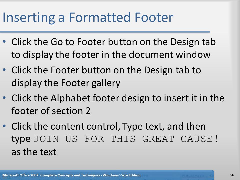 Inserting a Formatted Footer
