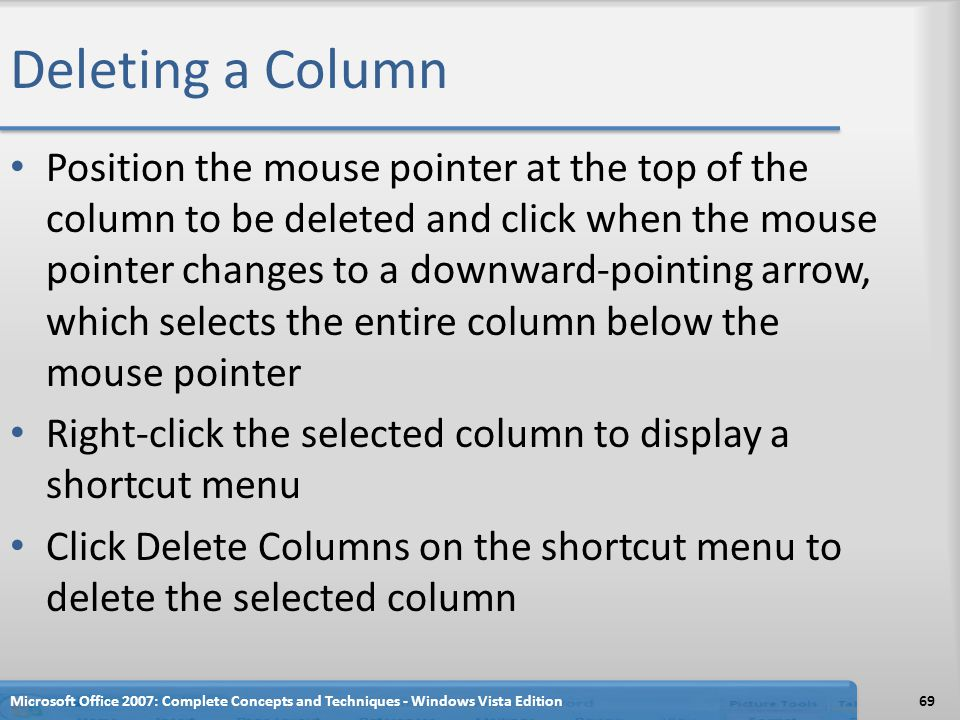 Deleting a Column