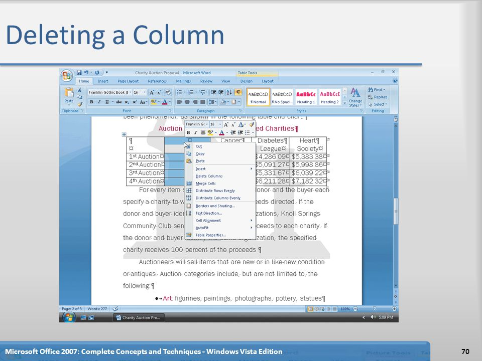Deleting a Column Microsoft Office 2007: Complete Concepts and Techniques - Windows Vista Edition
