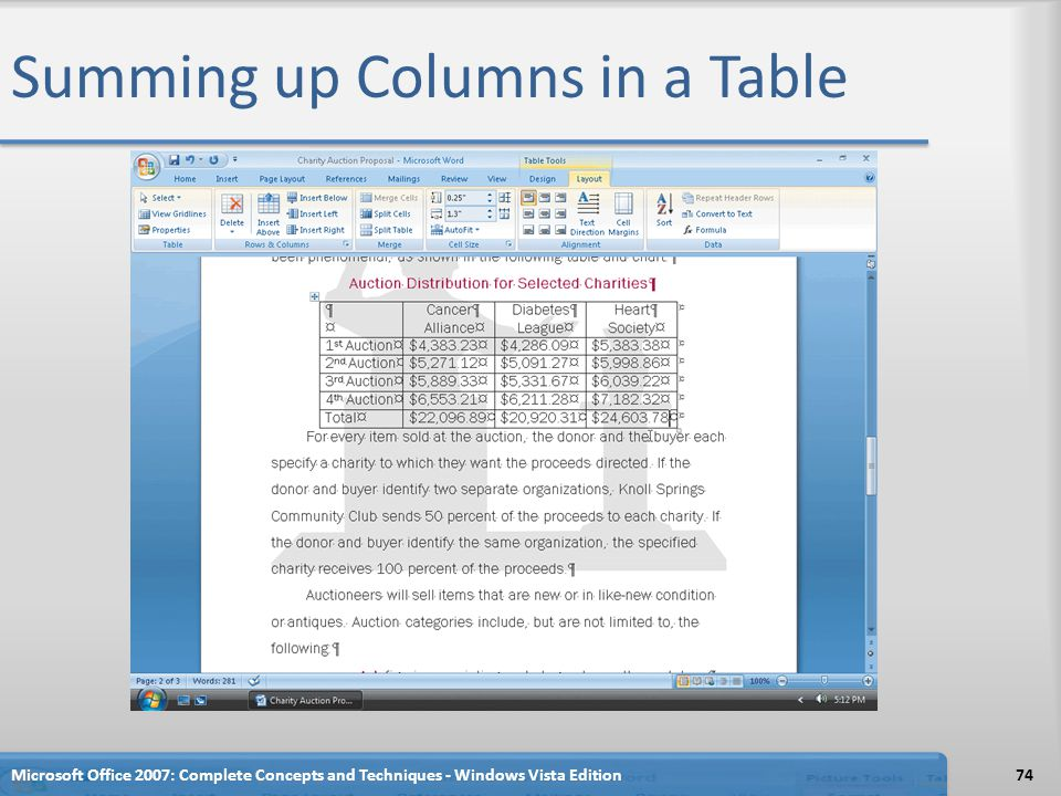 Summing up Columns in a Table