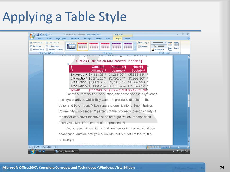 Applying a Table Style Microsoft Office 2007: Complete Concepts and Techniques - Windows Vista Edition.