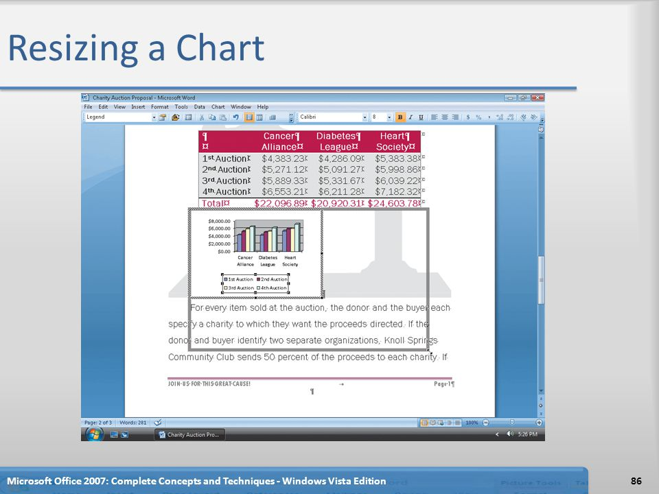 Resizing a Chart Microsoft Office 2007: Complete Concepts and Techniques - Windows Vista Edition
