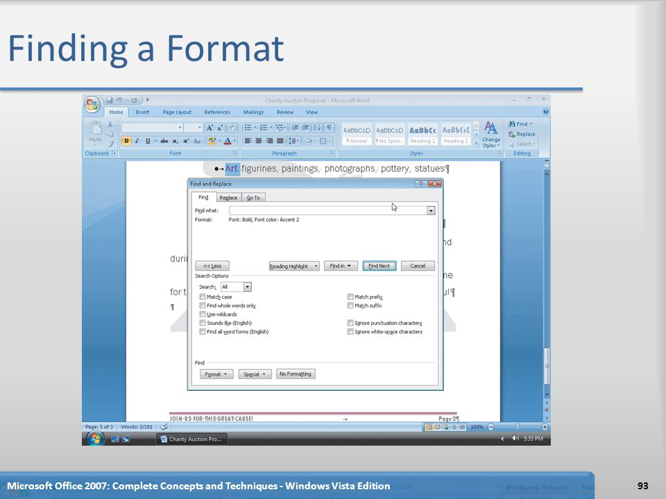Finding a Format Microsoft Office 2007: Complete Concepts and Techniques - Windows Vista Edition