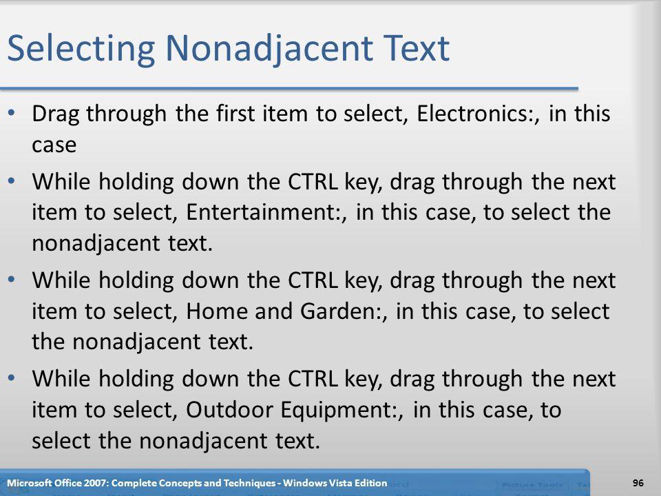 Selecting Nonadjacent Text