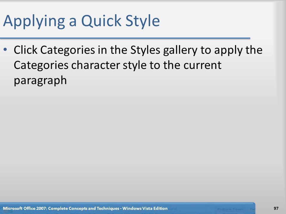 Applying a Quick Style Click Categories in the Styles gallery to apply the Categories character style to the current paragraph.