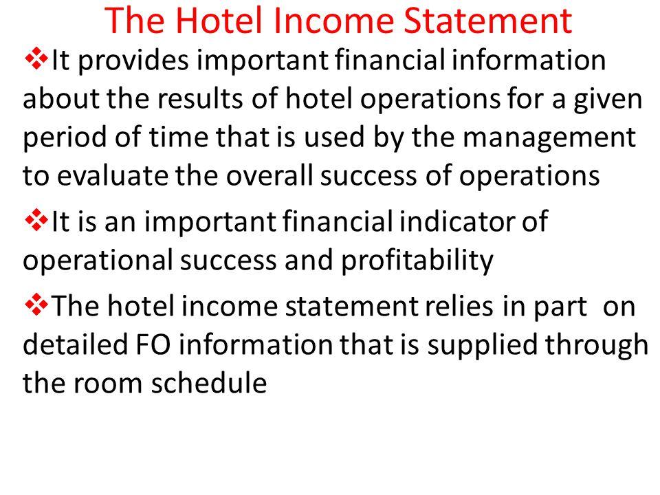 The Hotel Income Statement