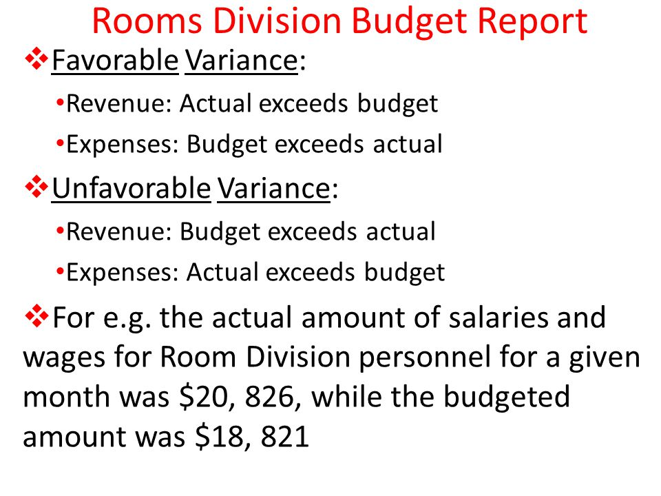 Rooms Division Budget Report