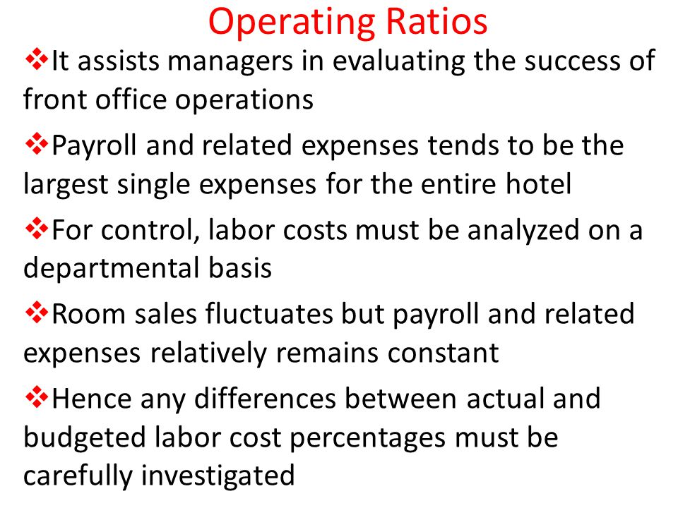 Operating Ratios It assists managers in evaluating the success of front office operations.