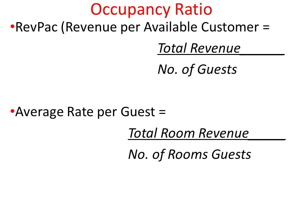 Occupancy Ratio RevPac (Revenue per Available Customer =