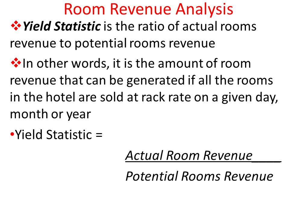 Room Revenue Analysis Yield Statistic = Actual Room Revenue____