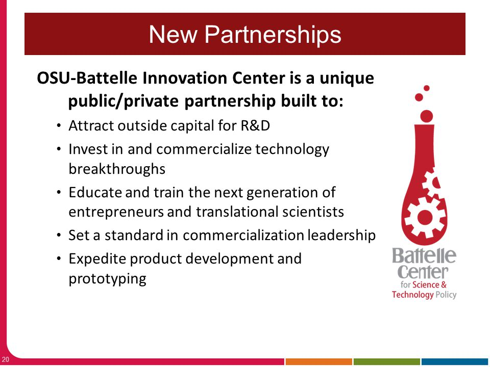 New Partnerships OSU-Battelle Innovation Center is a unique public/private partnership built to: Attract outside capital for R&D.
