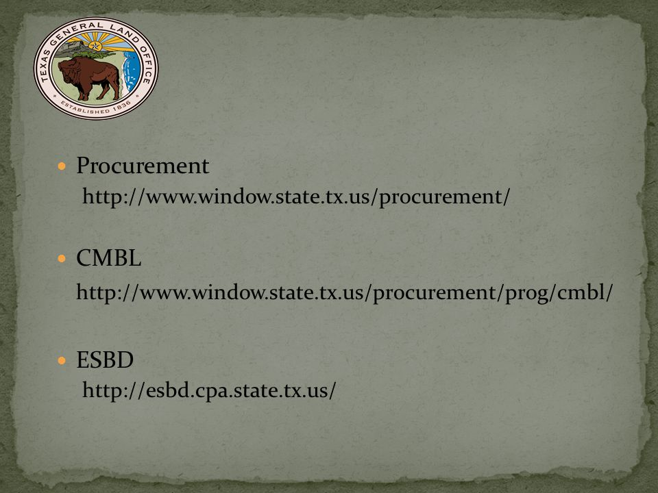 Procurement CMBL http://www.window.state.tx.us/procurement/prog/cmbl/
