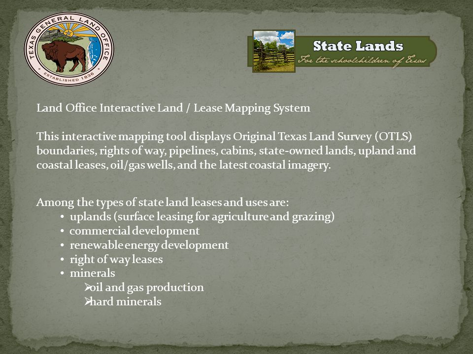 Land Office Interactive Land / Lease Mapping System