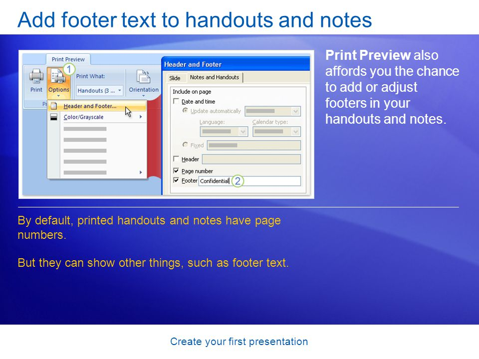 Add footer text to handouts and notes