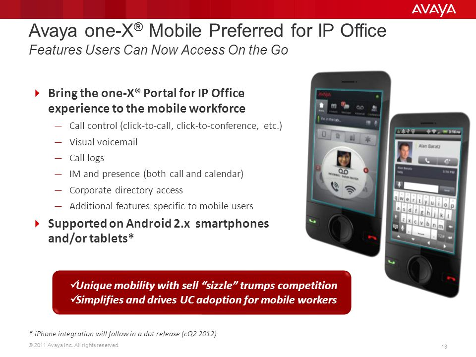 Avaya one-X® Mobile Preferred for IP Office Features Users Can Now Access On the Go