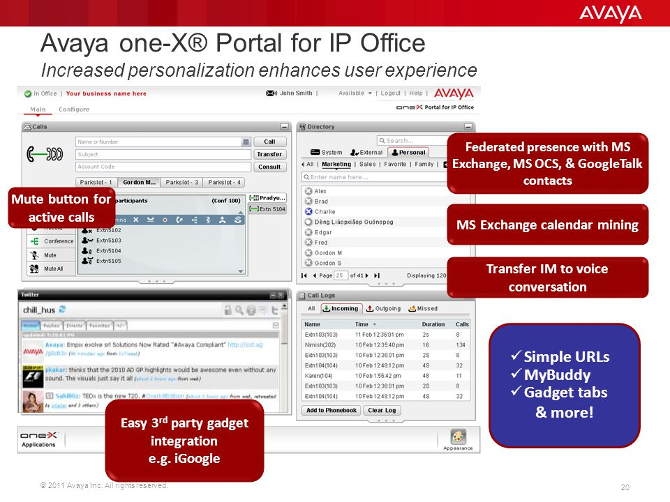 Avaya one-X® Portal for IP Office Increased personalization enhances user experience