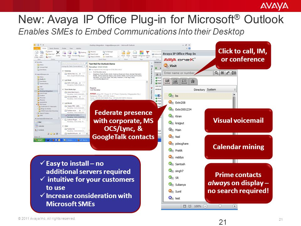 New: Avaya IP Office Plug-in for Microsoft® Outlook Enables SMEs to Embed Communications Into their Desktop