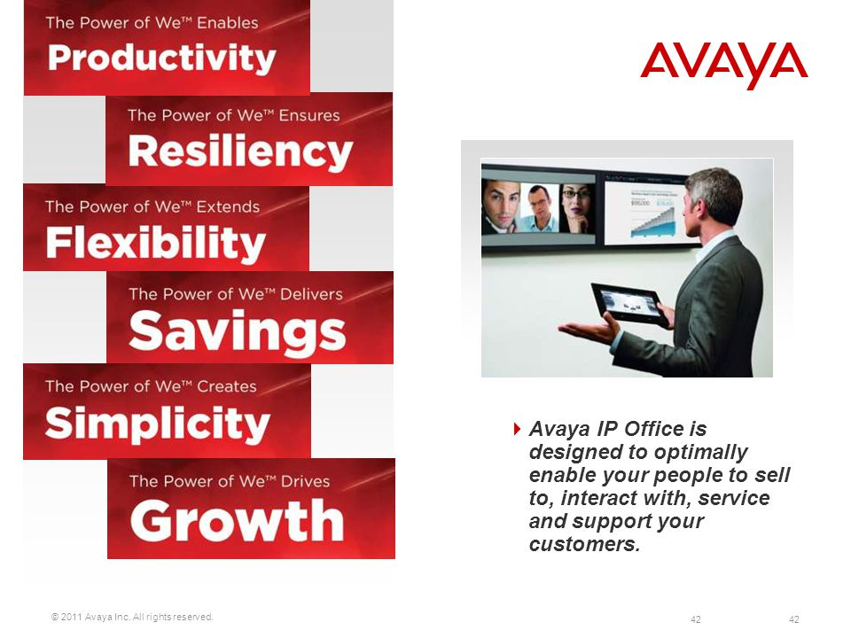 Avaya IP Office is designed to optimally enable your people to sell to, interact with, service and support your customers.