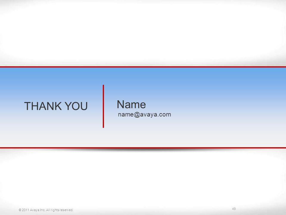 THANK YOU Name name@avaya.com © 2011 Avaya Inc. All rights reserved.