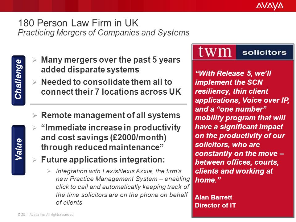 180 Person Law Firm in UK Practicing Mergers of Companies and Systems