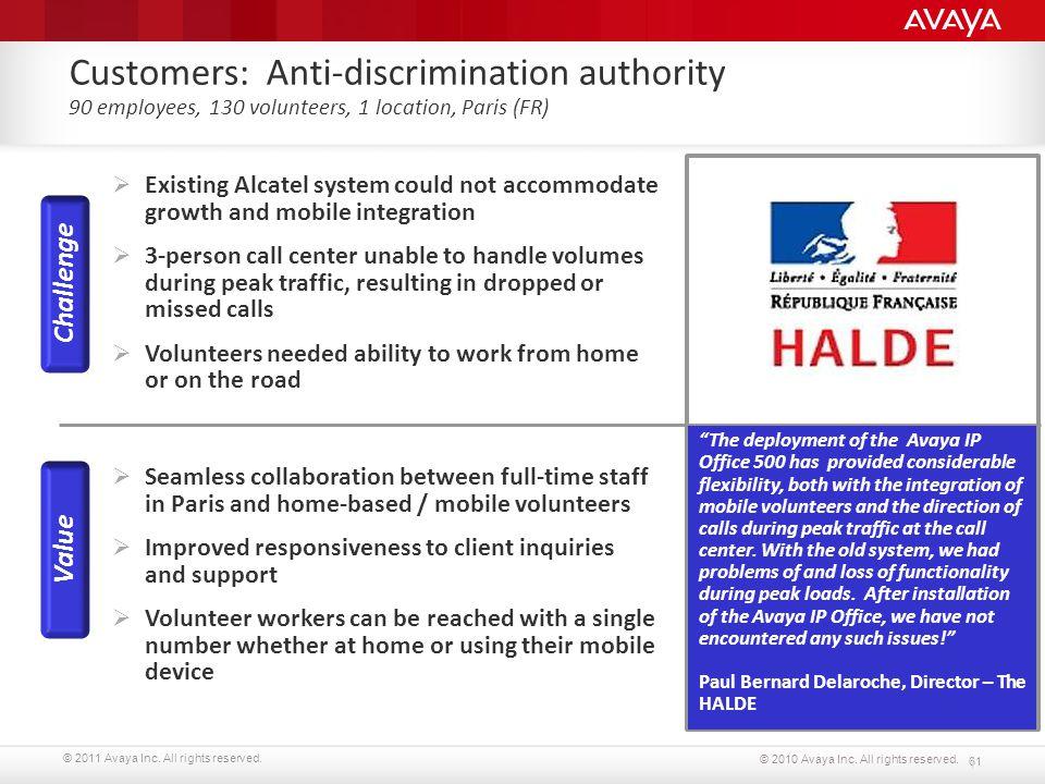 Customers: Anti-discrimination authority 90 employees, 130 volunteers, 1 location, Paris (FR)