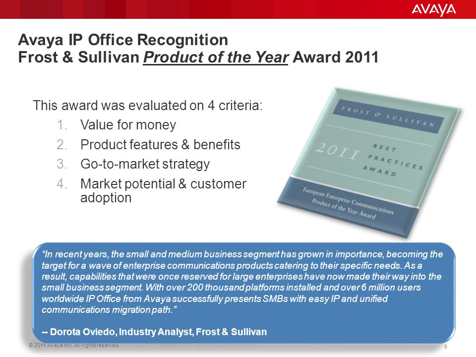 Avaya IP Office Recognition Frost & Sullivan Product of the Year Award 2011