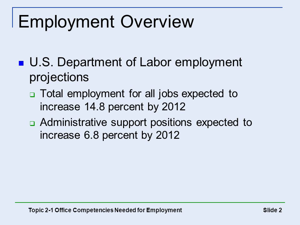 Employment Overview U.S. Department of Labor employment projections