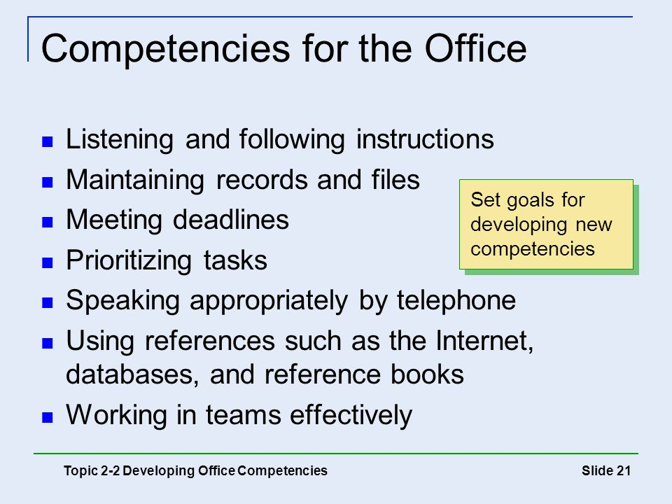 Competencies for the Office