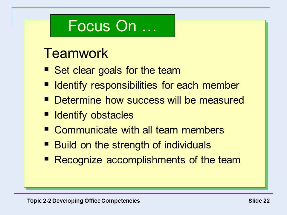 Focus On … Teamwork Set clear goals for the team