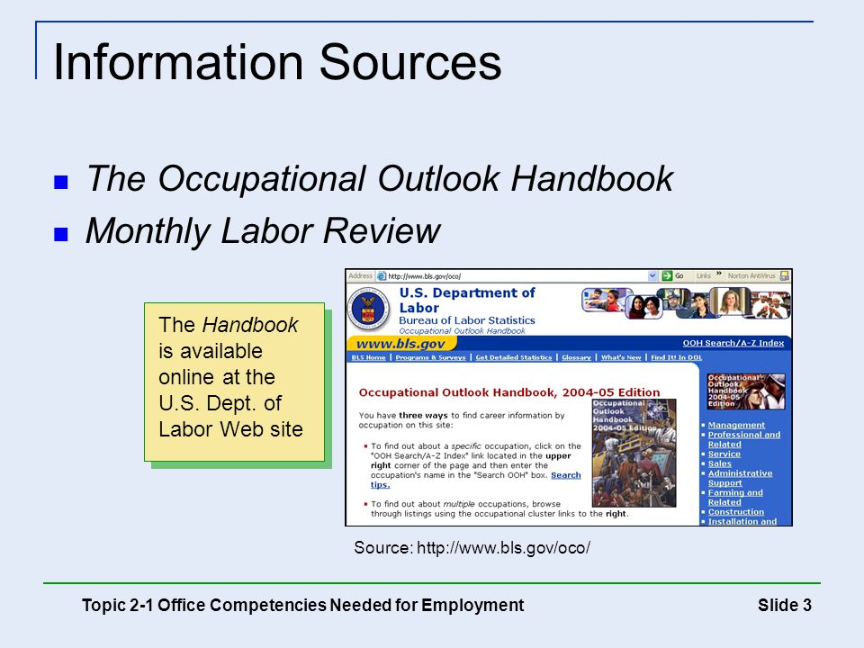 Information Sources The Occupational Outlook Handbook
