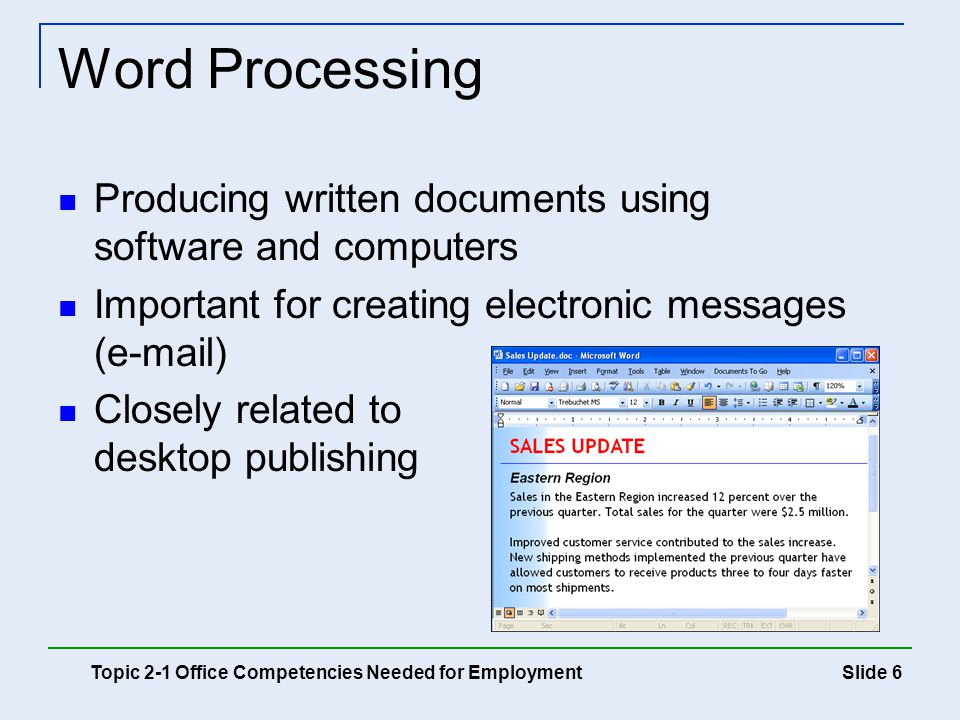 Word Processing Producing written documents using software and computers. Important for creating electronic messages ( )