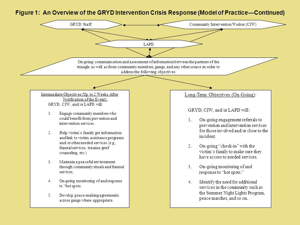 Figure 1: An Overview of the GRYD Intervention Crisis Response (Model of Practice—Continued)