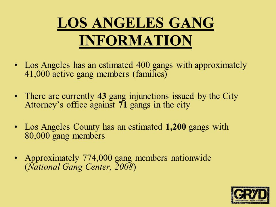 LOS ANGELES GANG INFORMATION